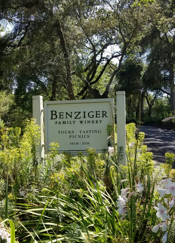 The entrance to Benziger Family Winery